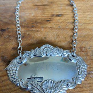 silver wine decanter label